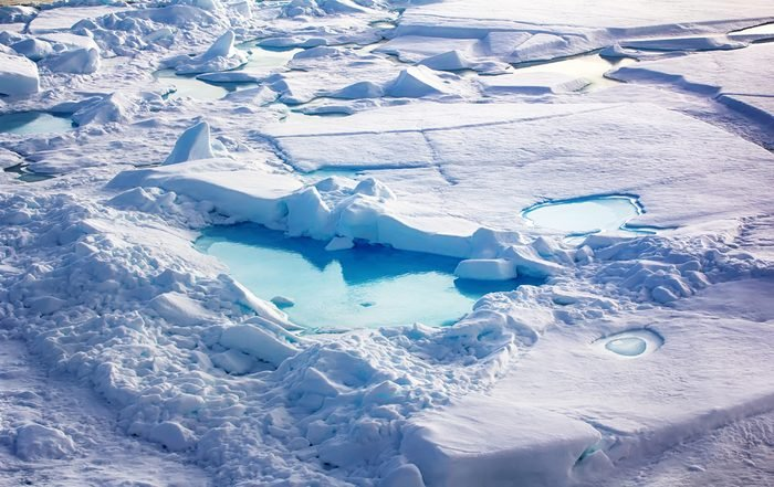 Floe at North pole (90 degrees) in 2016. Area of recent compression of ice fields and tending (ice rubble pileup)