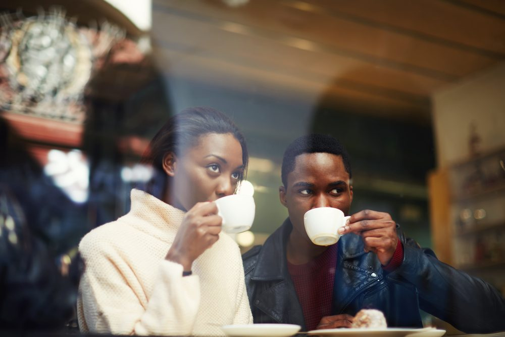 couple drinking coffee. Romantic ideas for her