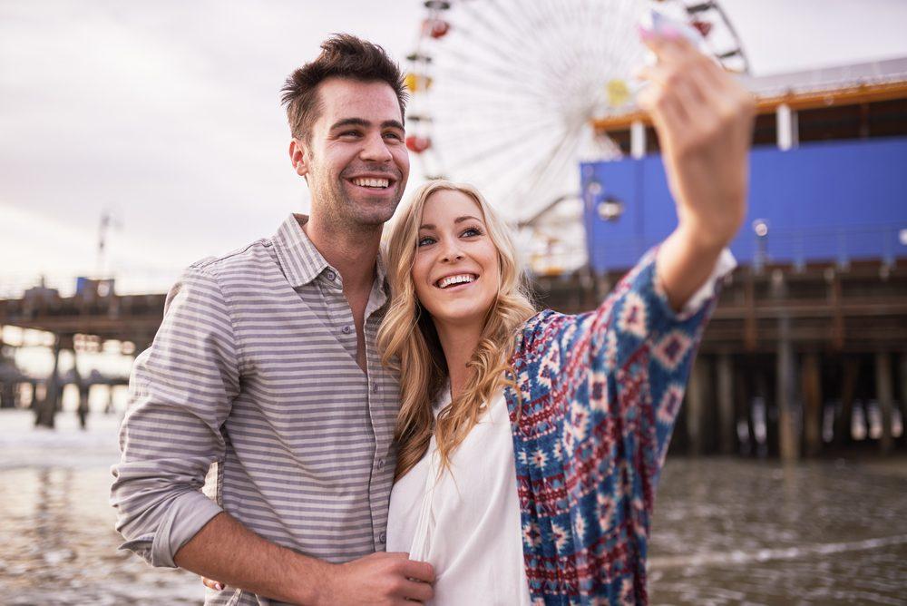 couple in love selfie. Romantic anniversary ideas