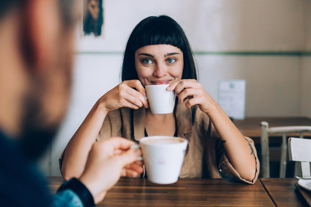 Happy romantic couple coffee. Romantic ideas