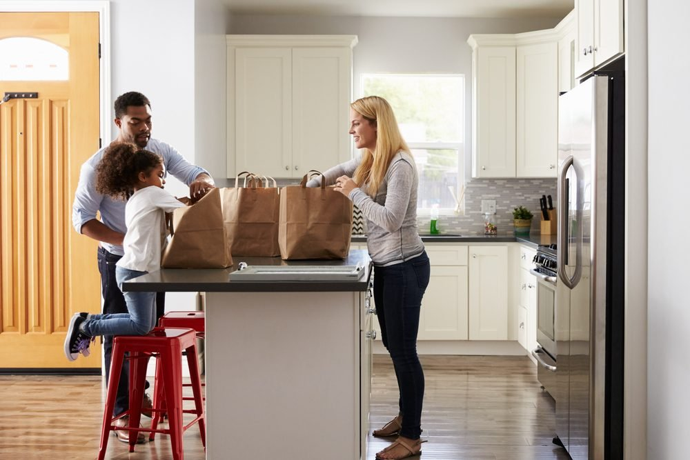 grocery bags kitchen family. Romantic ideas