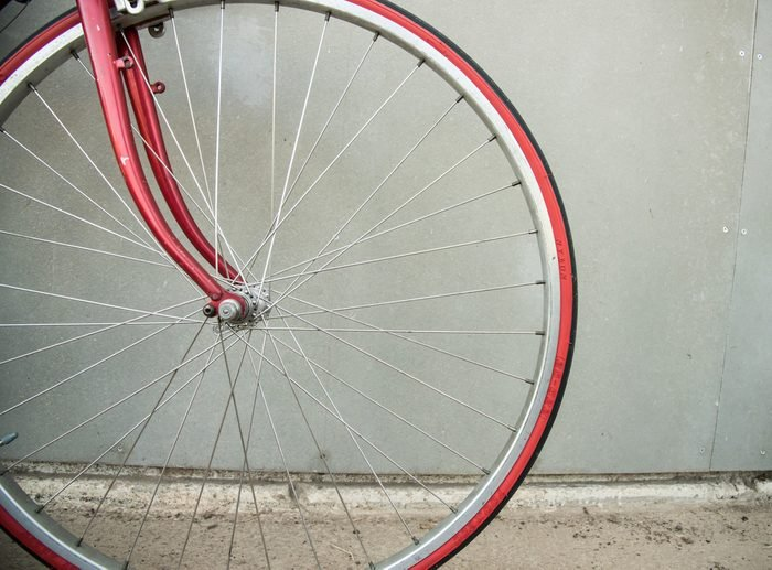 Close-up detail of cogwheel on a vintage bicycle