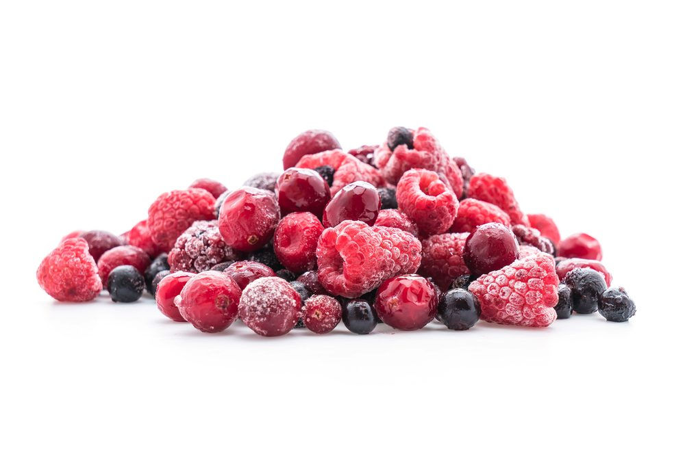 frozen mixed berry on white background