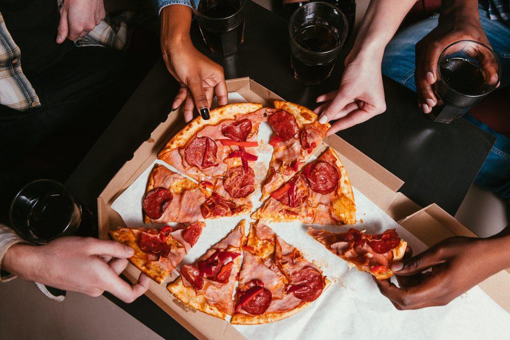 Friends Company Salami Pizza Eat Home Leisure Fun People Unrecognizable Interracial Salami Unhealthy Food Concept