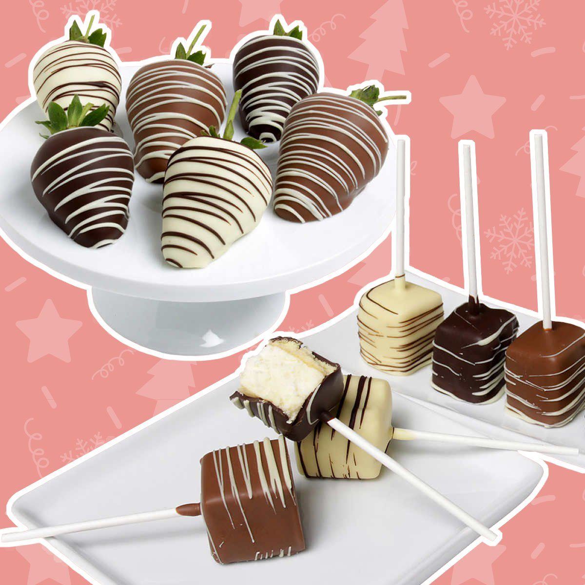 Belgian Chocolate Covered Strawberries & Cheesecake Pops
