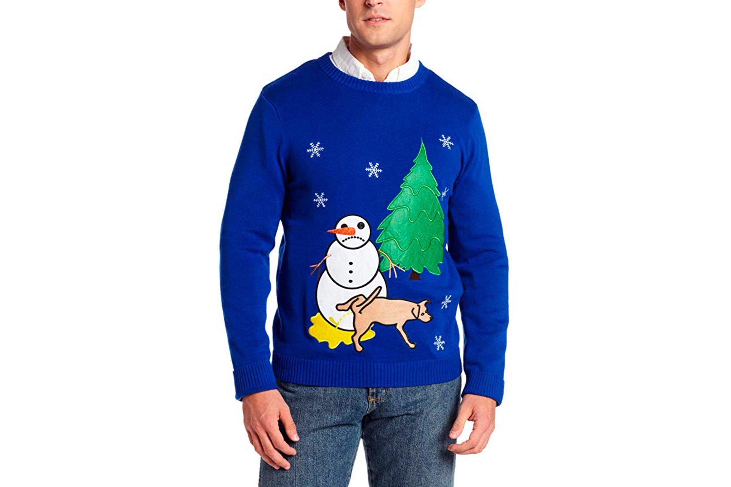 Dog peeing on snowman Christmas sweater