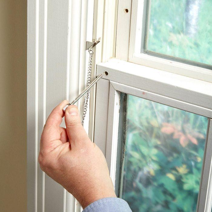 simple window lock pin hole