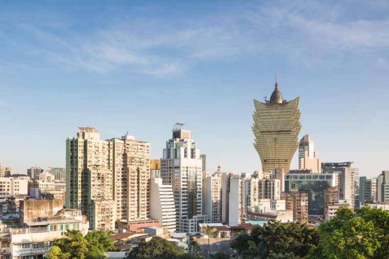 Macau island has a very high population density reflected in the very crowded residential area mixed with casinos and office towers