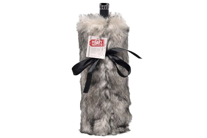 Merry Moments Faux Fur Wine Bag