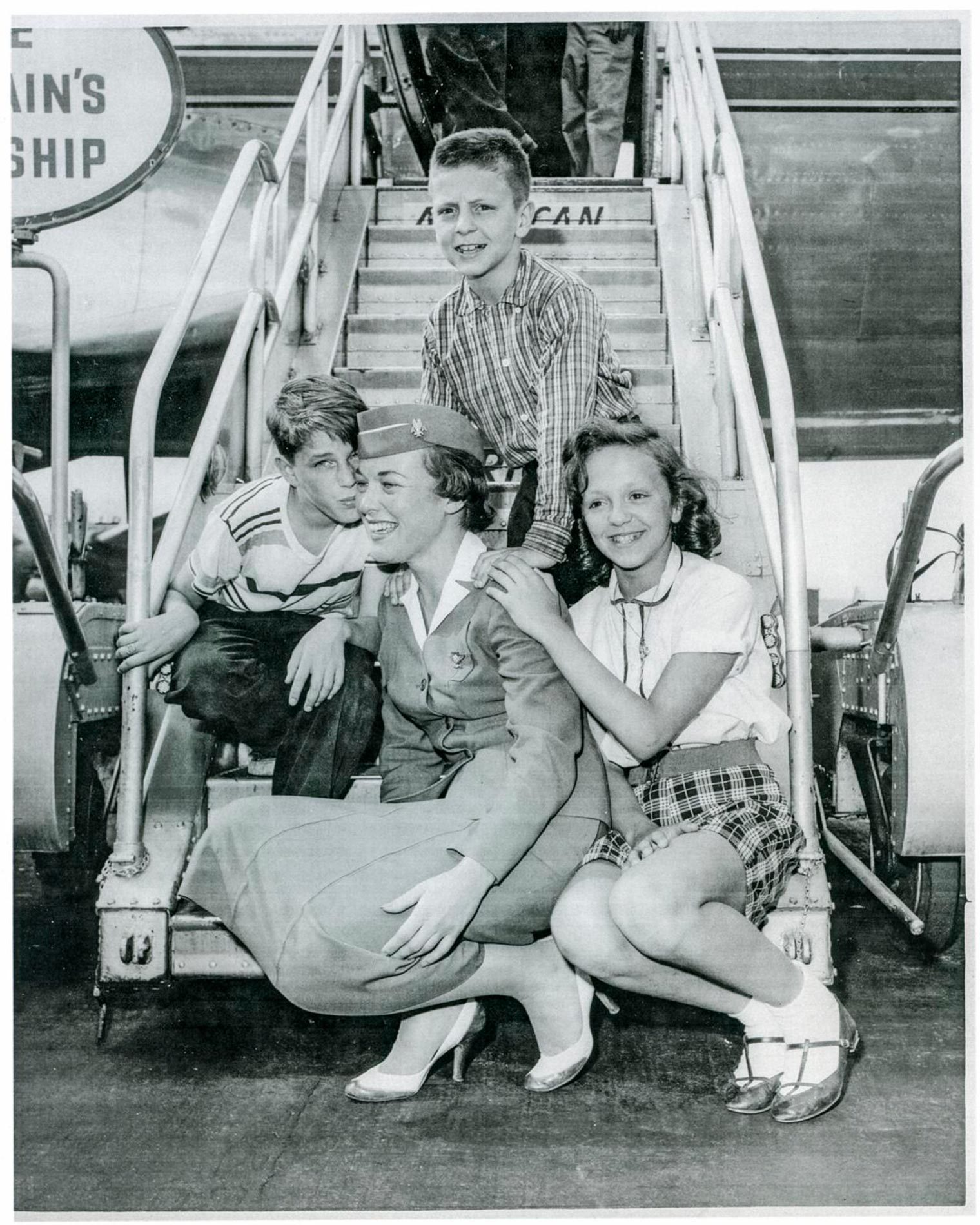 Stewardesses making friends