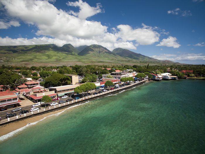 Drone Aerial View - Lahaina Town - Island of Maui - Hawaii