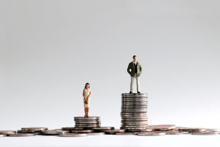 The concept of gender gap between employment and promotion. Miniature people standing on a pile of coins.
