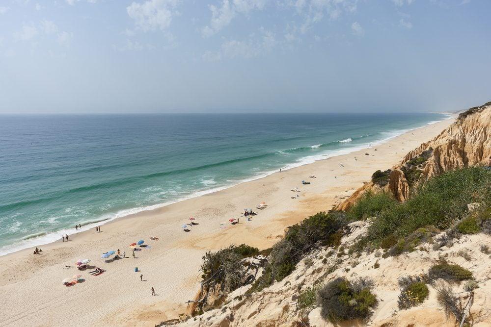 Sandstone cliffs in Gale beach, Comporta , Portugal
