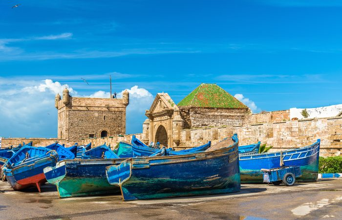 Blue fishing boats in the port of Essaouira - Morocco