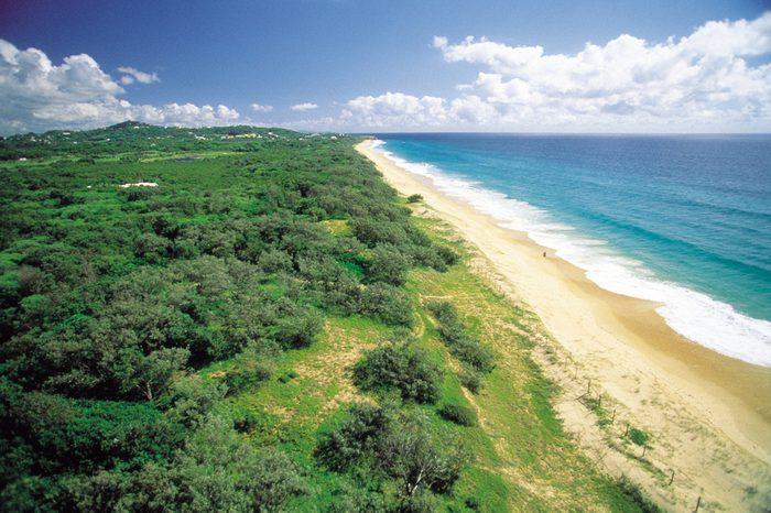 Australia: Aerial view of Marcoola Beach at the sunshine coast in Queensland
