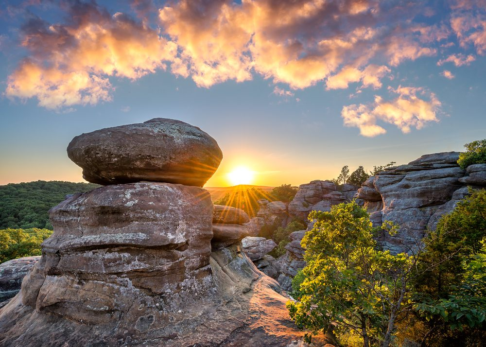 Sunset over rock formations at Garden of the Gods in Southern Illinois