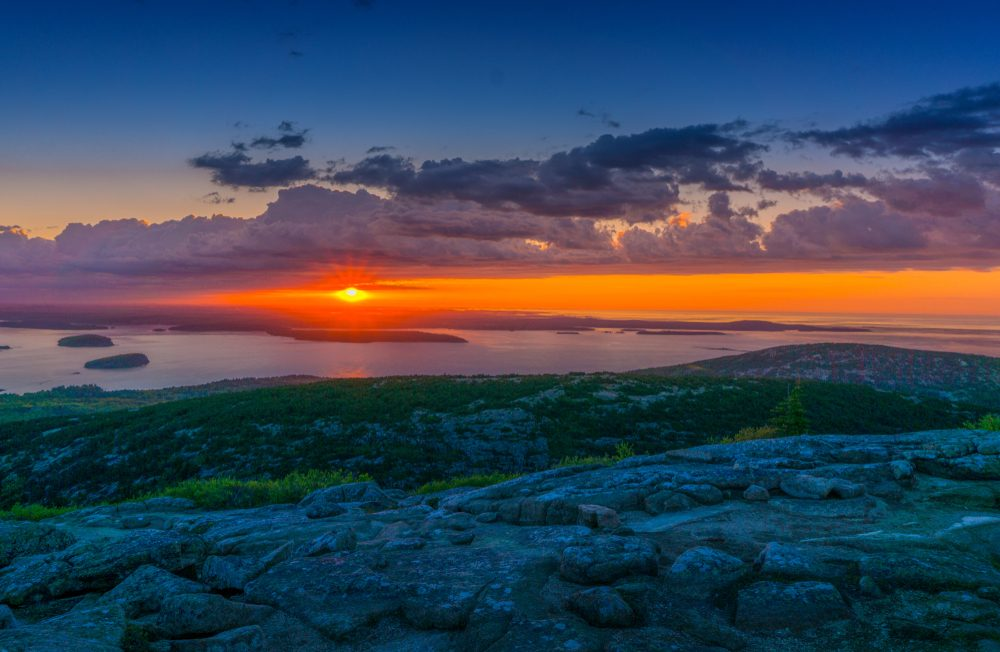 Beautiful Sunrise at the top of Cadillac Mountain in Acadia National Park