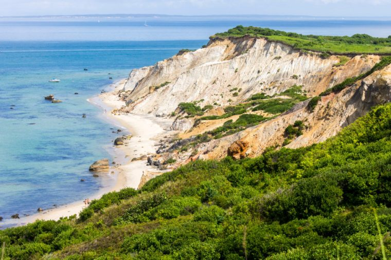 Martha's Vineyard, Massachusetts. Views of the Gay Head cliffs of clay, located on the town of Aquinnah western-most part of the island of Martha's Vineyard