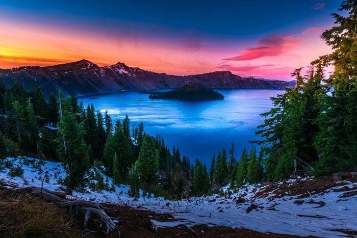 Crater Lake National Park Oregon Cold Winter Sunset Sky
