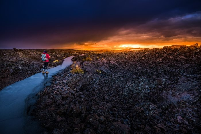 Hiker Backpacker on a trail Craters of The Moon National Monument Idaho