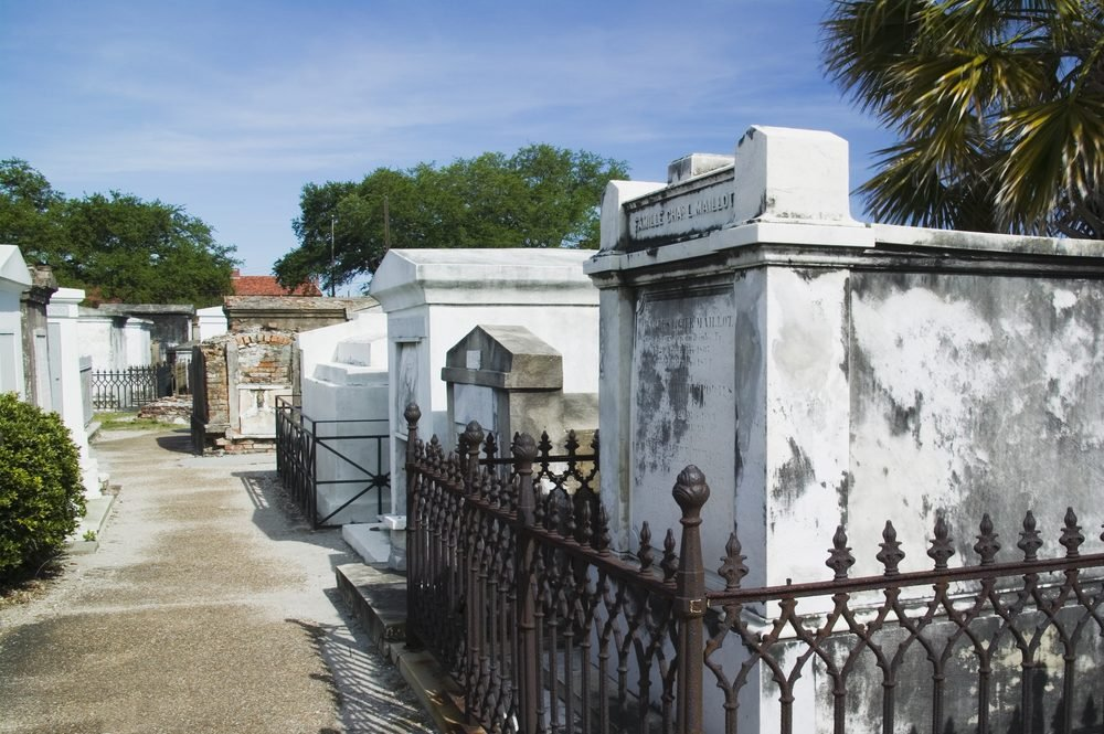 Ornate family mausoleums in St. Louis Cemetery #1 in New Orleans, Louisiana United States