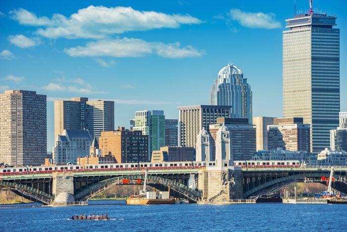 Boston skyline, Back Bay and Charles River, Longfellow Bridge, located in Boston, Massachusetts, USA.