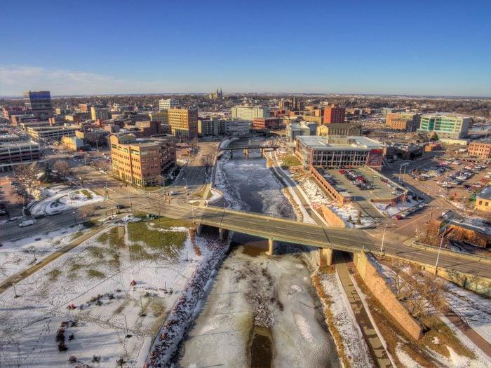 Downtown Sioux Falls, South Dakota during Winter via Drone