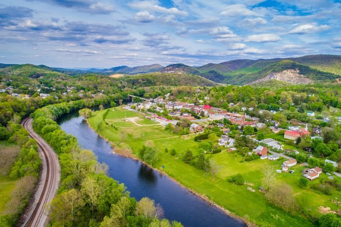 Aerial view of the James River and mountain landscape surrounding Buchanan, Virginia.