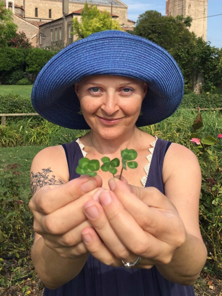 closeup four leaf clovers in hand