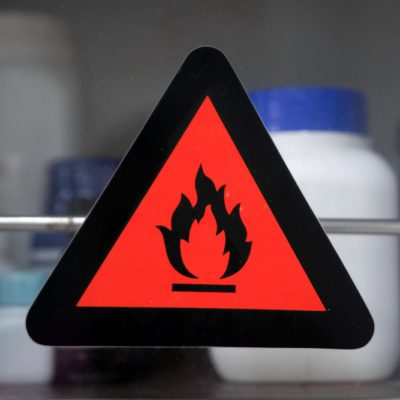 Focus at lable flammable chemical. Hazard symbols for chemicals