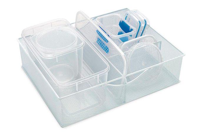 White Mesh Food Storage and Lid Organizer