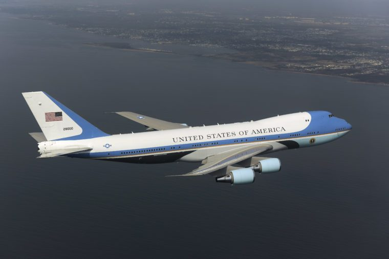 Air Force One, the presidential plane, flies over New York, America - 27 Apr 2009