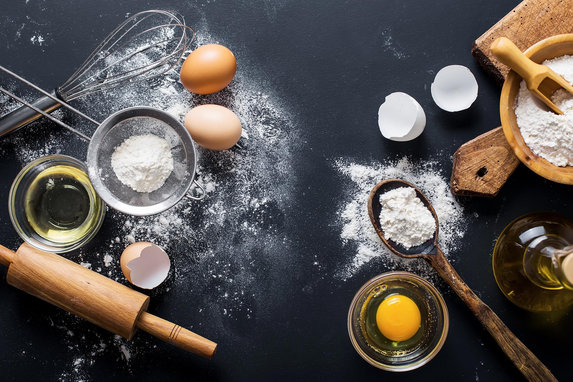eggs, flour, baking materials