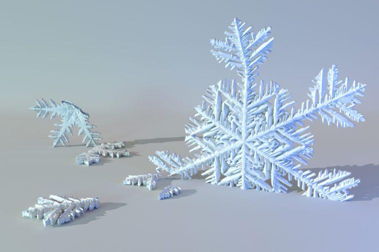 Surreal broken snowflakes.