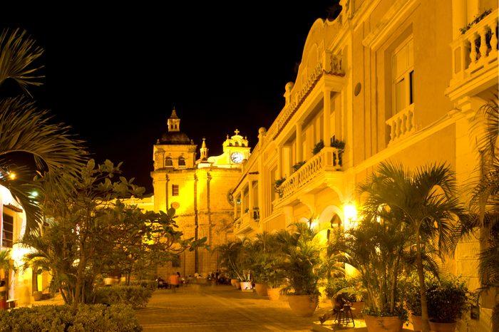 cathedral Cartagena de Indias night Colombia