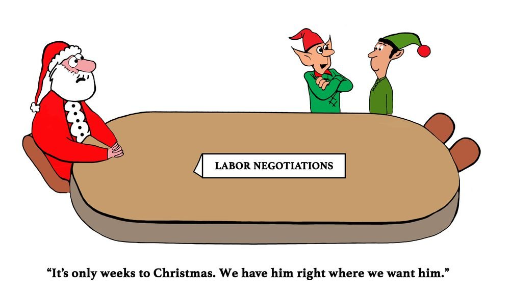 Christmas cartoon about elves in labor negotiation with Santa Claus.