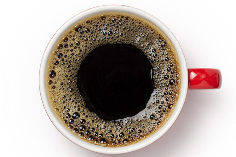 coffee cup, top view of coffee black in red ceramic cup isolated on white background. with clipping path.