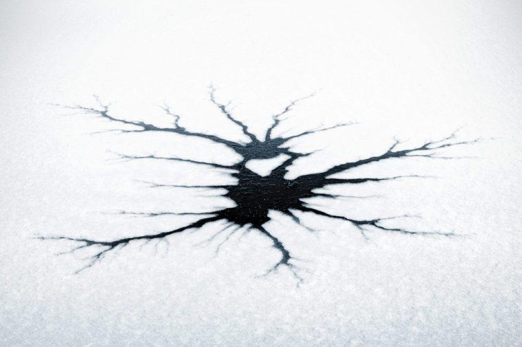 Cracked ice in strange pattern