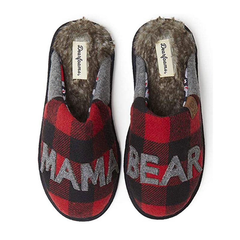 Dearfoams Women's Mama Bear Buffalo Plaid Slippers