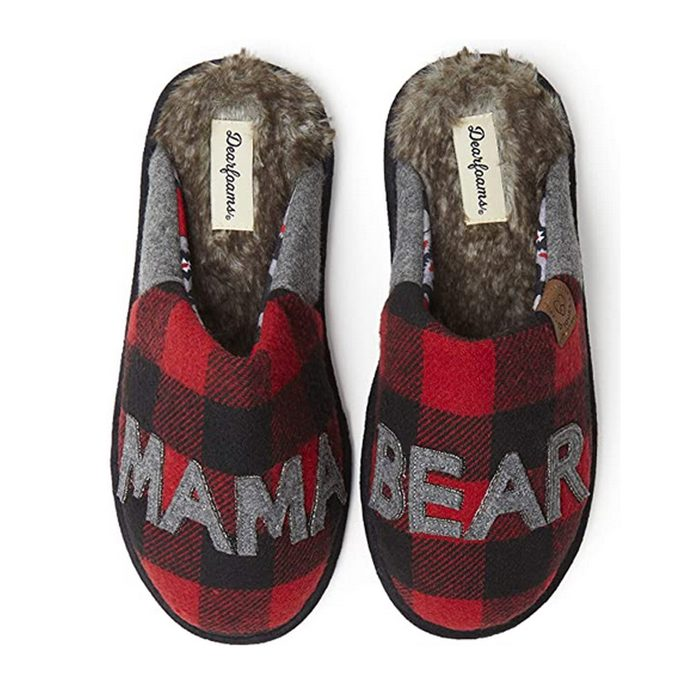 Dearfoams Women's Mama Bear Buffalo Plaid Slippers
