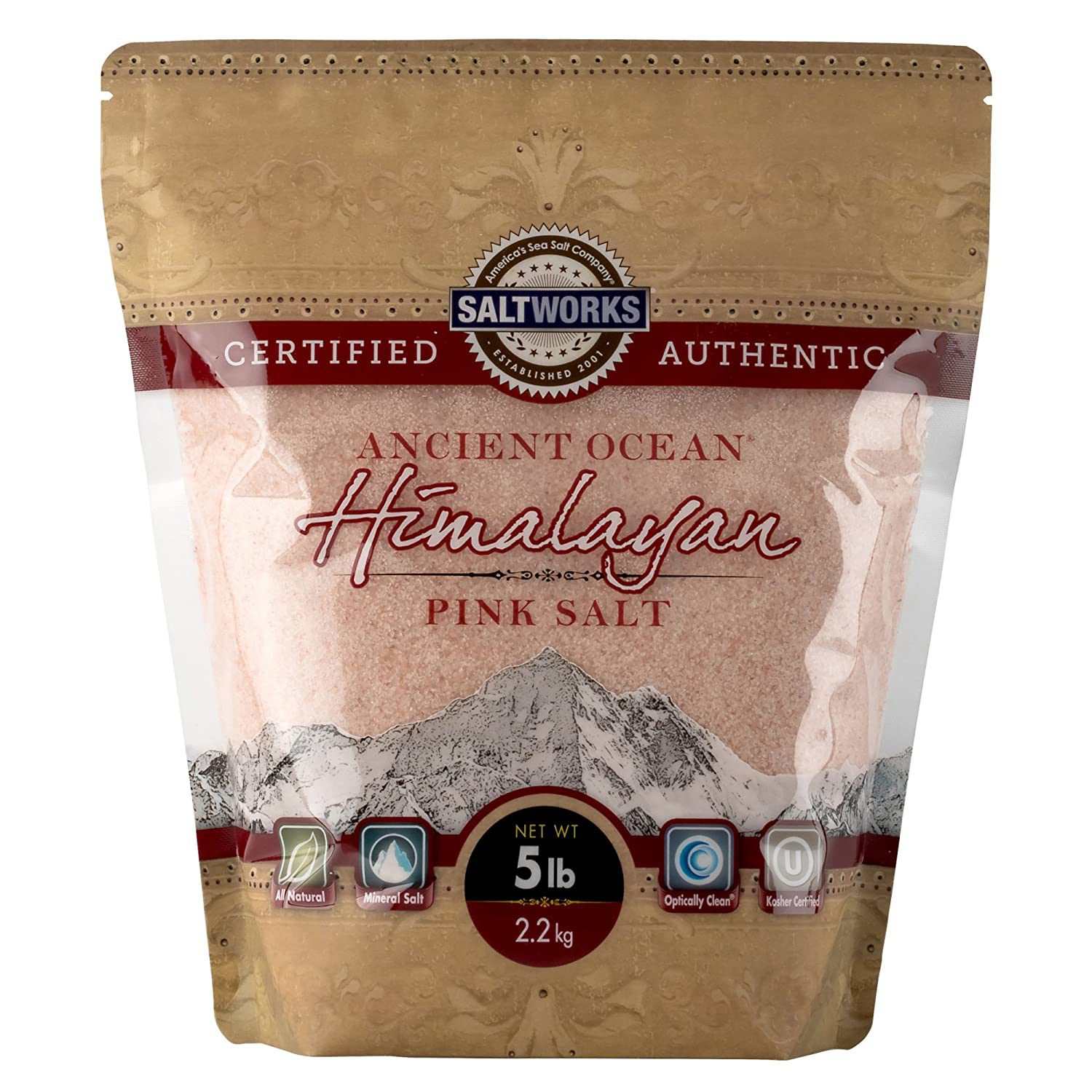 SaltWorks Ancient Ocean Himalayan Pink Salt, 5-Pound Bulk Bag