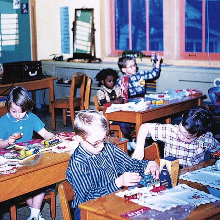 Classroom of kids working on crafts