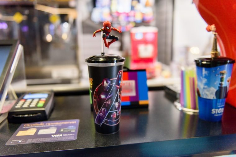 MINSK, BELARUS - MAY 3, 2018:Small figure of SpiderMan on a souvenir cup in the Galileo cinema on the launch day of the Marvel's film Avengers: Infinity War