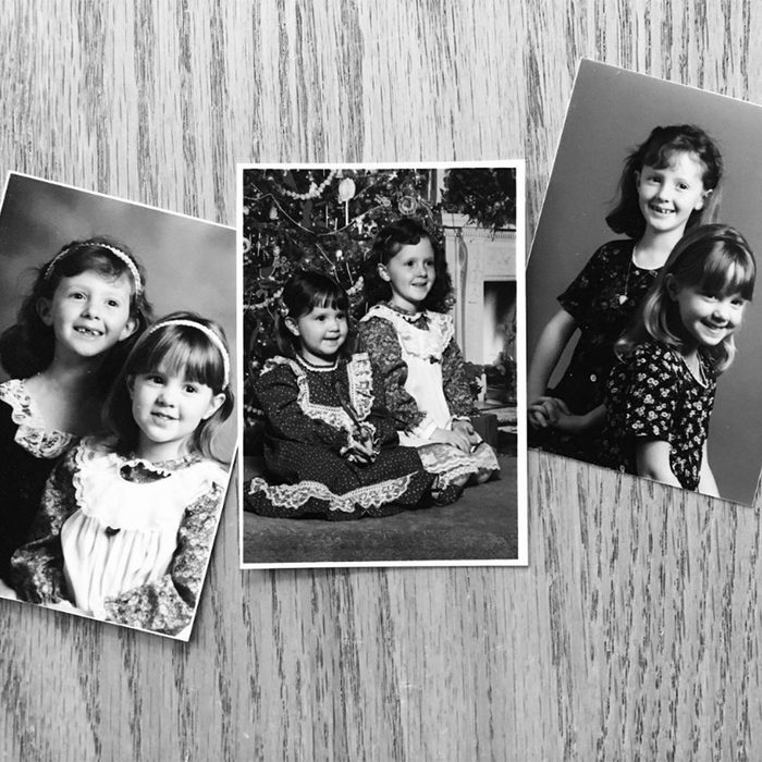 Black and white photos of siblings in matching clothing