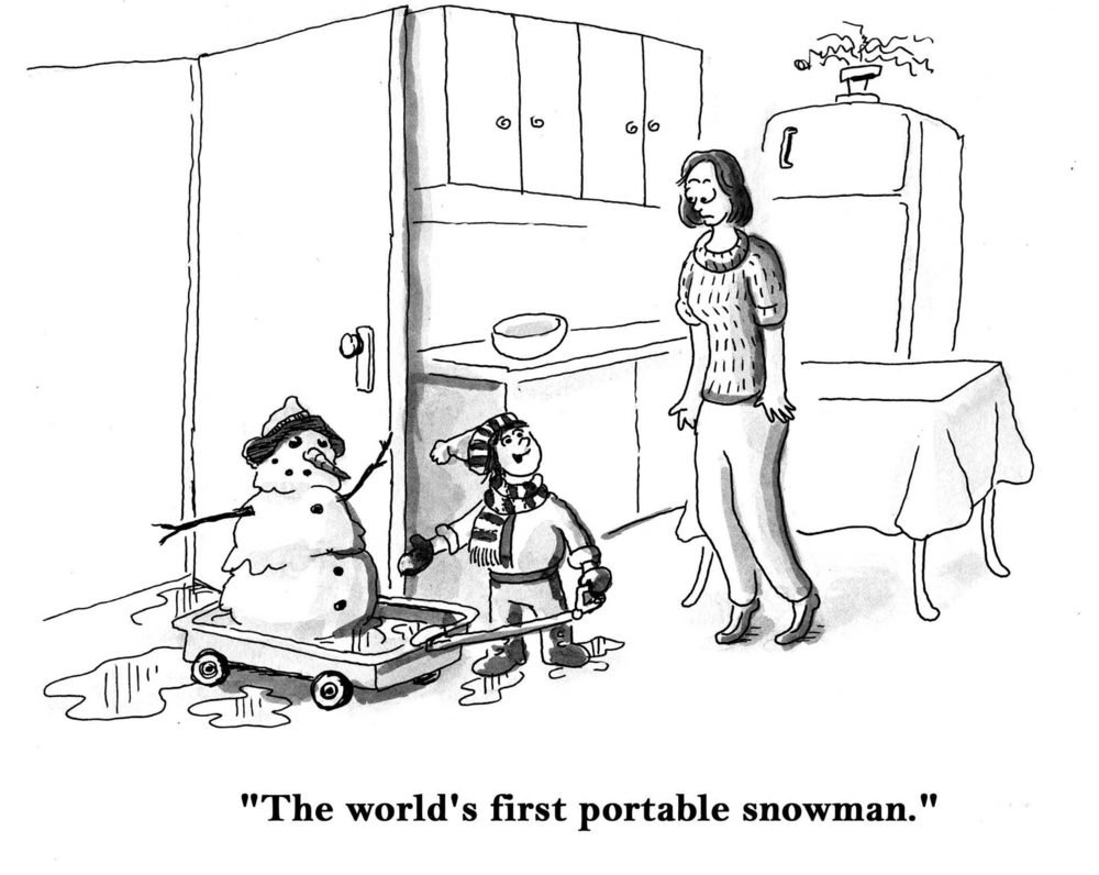 """The world's first portable snowman."""