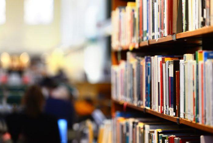 Bookshelf, interior blurred