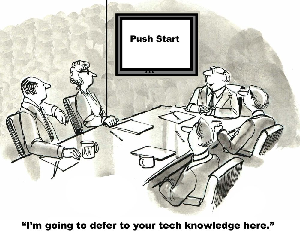 The toughest part of the business meeting is getting the technology to work; push start.