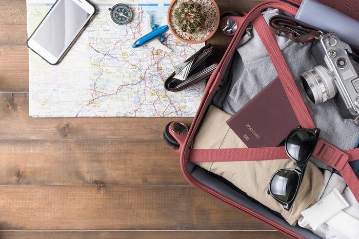 luggage overhead flat lay