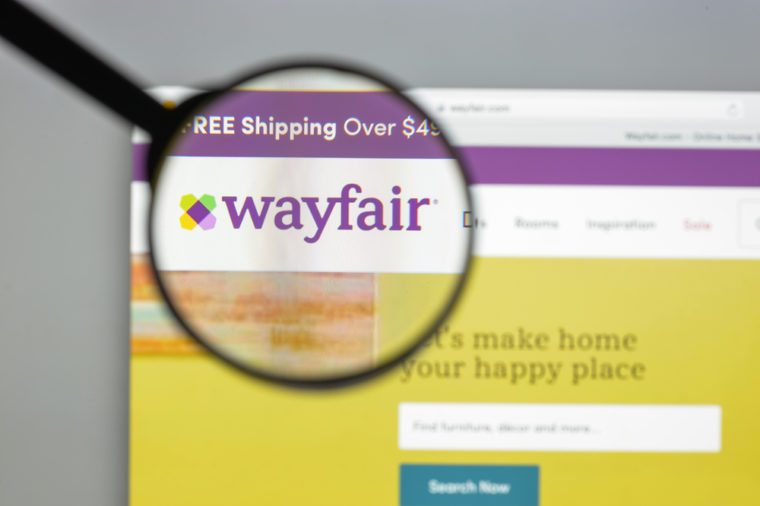 Milan, Italy - August 10, 2017: Wayfair.com website homepage. It is an American e-commerce company that sells home goods. Wayfair logo visible.