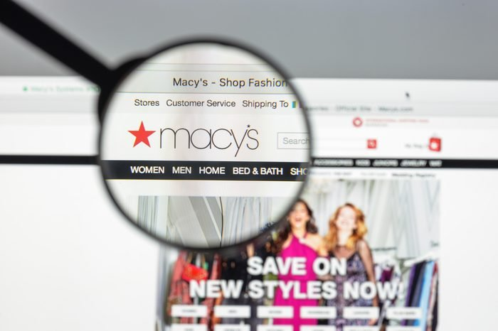Milan, Italy - August 10, 2017: Macy's website homepage. It is a department store owned by Macy's, Inc. Macy's logo visible.